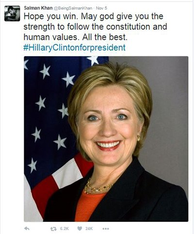 Salman Khan supports Hillary Clinton in th 2016 US presidential elections.jpg