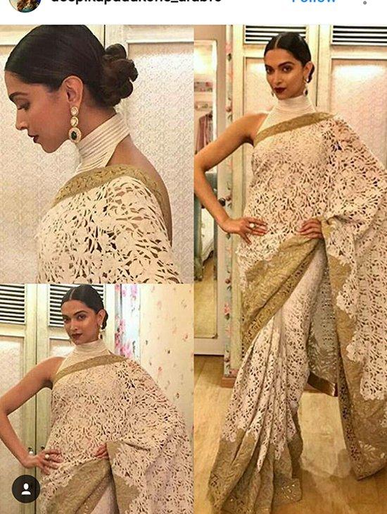 Deepika Padukone in her white saree