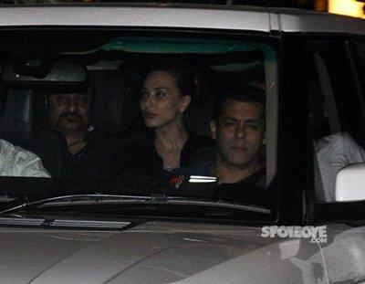 Salman Khan and Iulia Vantur in the Car leaving From Amrita Arora house Party