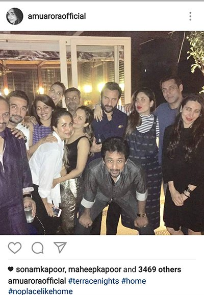 Karisma Kapoor, Kareena Kapoor, Malika Arora, Amrita Arora,Saif Ali Khan, Salman Khan and Iulia Vantur party