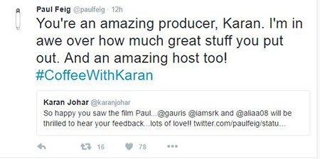 paul feig appreciates karan johar