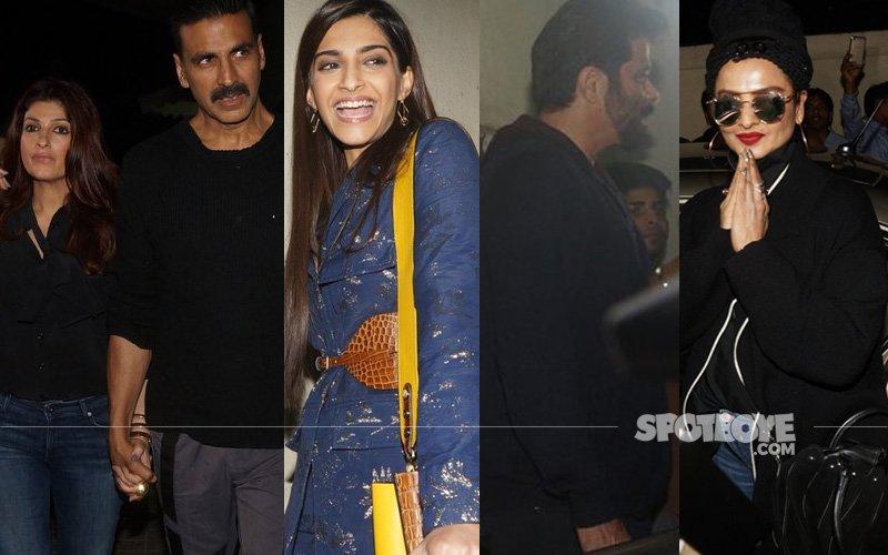 CLICKED: Akshay, Twinkle, Anil, Sonam & Rekha Watch Hrithik-Yami's Kaabil