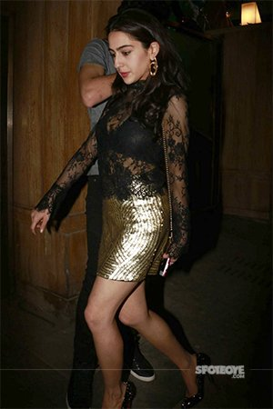 sara khan in a sexy black dress