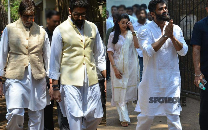Amitabh & Abhishek Bachchan At Suniel Shetty's Father Veerappa's Funeral