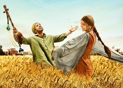 anushka sharma and diljit dosanjh in the fields in a still from phillauri