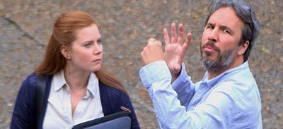 Director Denis Villeneuve with Amy Adams in Arrival Hollywood Movie