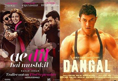ae dil hai mushkil and dangal poster aamir khan
