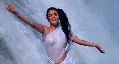 mandakini in white saree under the waterfall