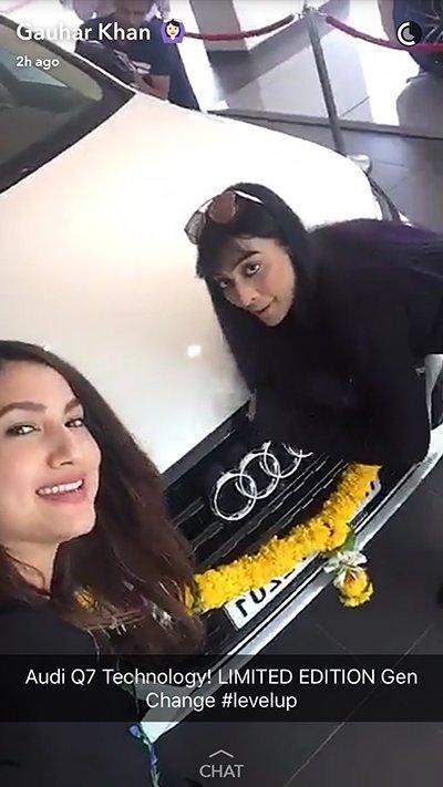 vj bani and gauahar khan new audi car