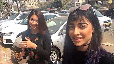 vj bani and gauahar khan new car