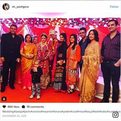 yash gera shares a pic of pooja joshis wedding