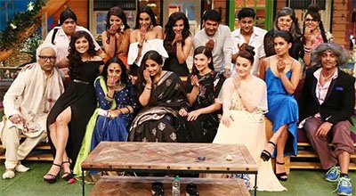 vidya balan and the cast of begum jaan on the kapil sharma show