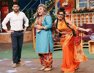 kapil sharma and ali asgar dadi and sugandha mishra on kapil sharma show