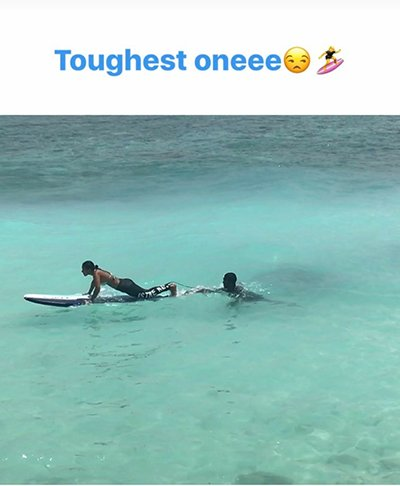 nia sharma surfing the blue waters