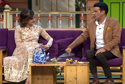 a still from the kapil sharma show with taapsee and manoj