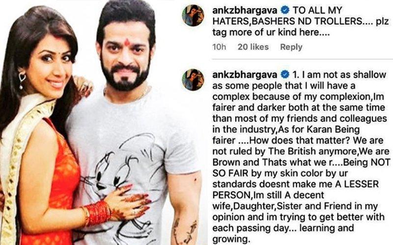 Ankita Bhargava Asks Trolls: So What If My Husband Karan Patel Is Fairer Than Me?