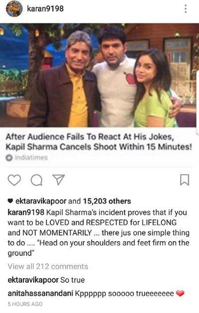 ekta kapoor and anita hassanandi react to karan patel post on kapil sharma controversy
