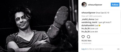 sunil grover posts an instagram picture of his shoe to give a reply to kapil sharma