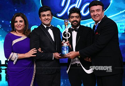 lv revanth with indian idol 9 with the judges sonu nigam farah khan and anu malik
