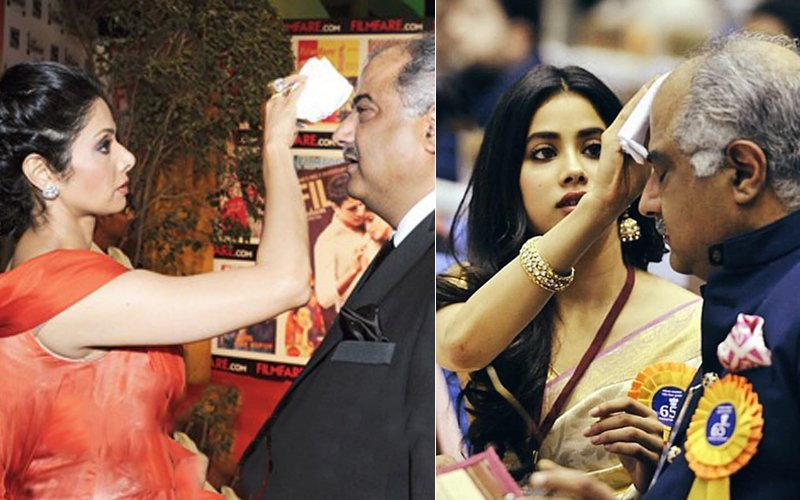Sridevi With Boney Kapoor And Janhvi Kapoor With Boney Kapoor