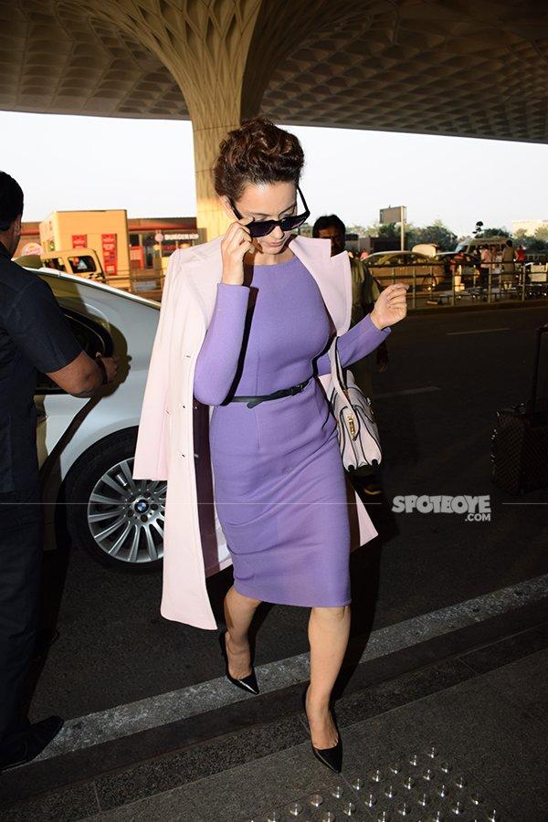 kangana ranaut was also spotted at the mumbai airport this morning
