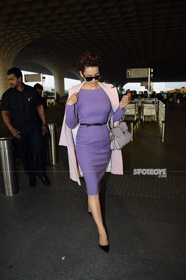dressed in a knee length dress kangana ranaut nailed the airport look