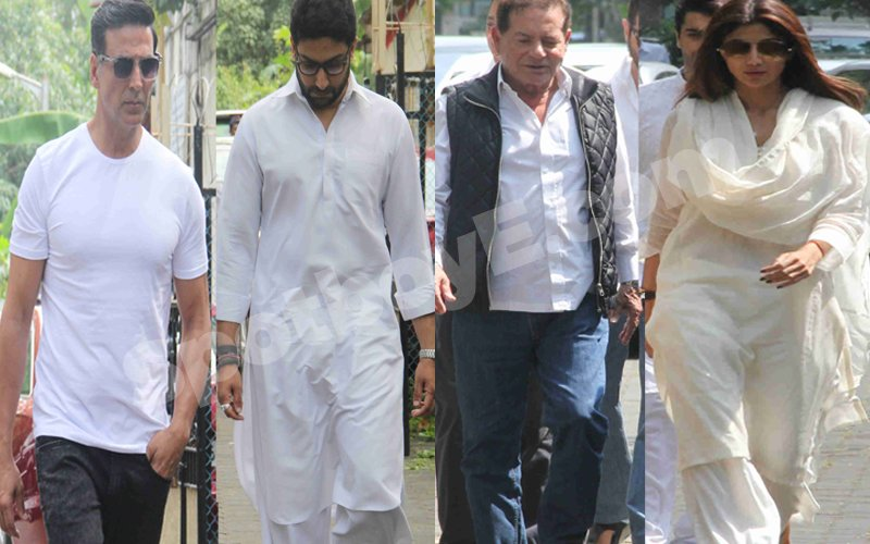 Video:  Akshay Kumar, Abhishek Bachchan, Salim Khan Attend Shilpa Shetty's Father's Funeral