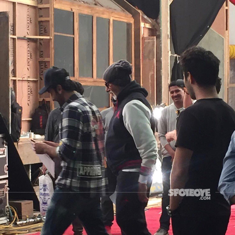 Amitabh Bachchan On The Sets With Ranbir Kapoor