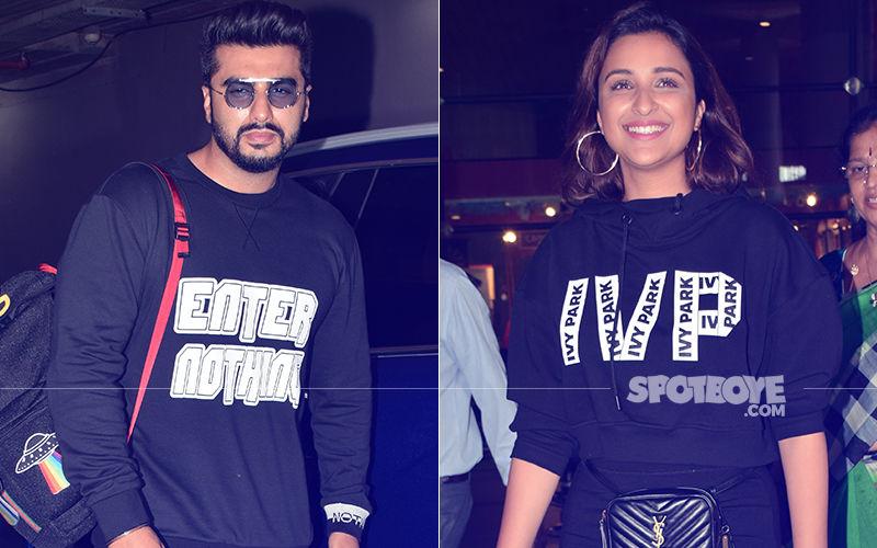Arjun Kapoor & Parineeti Chopra Return From London In Colour Coordinated Outfits