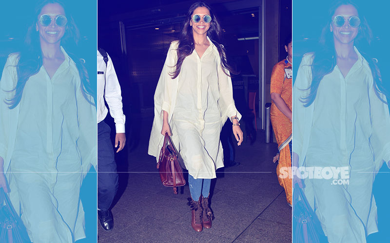 Back In Bombay: Lady In White, Deepika Padukone Is All Smiles For The Cameras