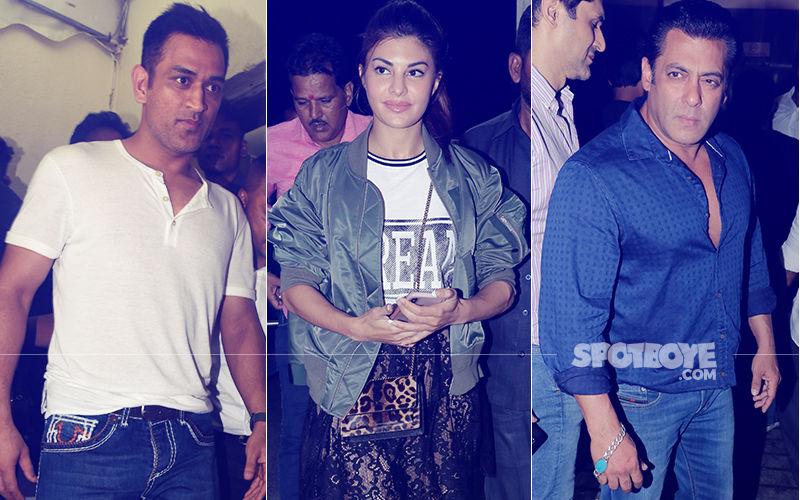 MS Dhoni, Jacqueline Fernandez, Salman Khan At Race 3 Screening