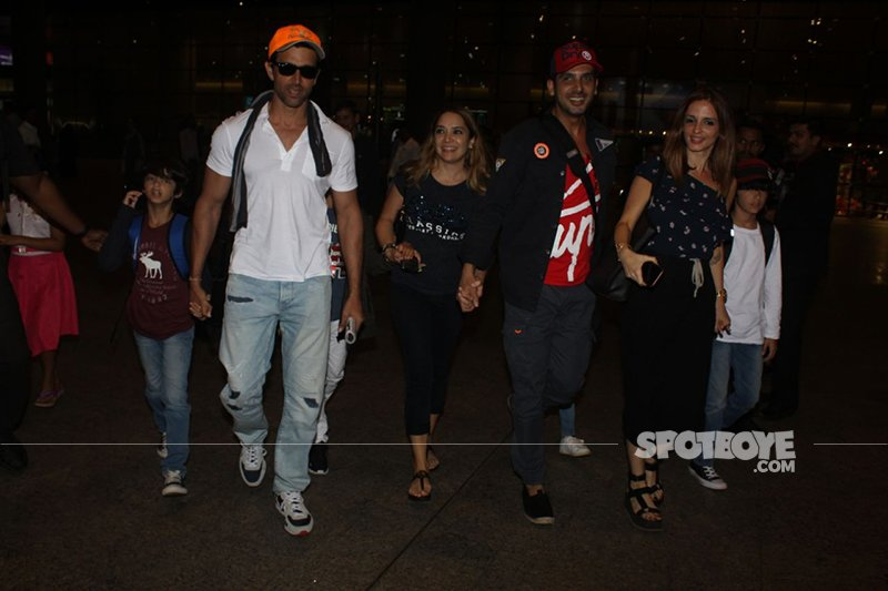 Hrithik Zayed And Sussanne With Kids