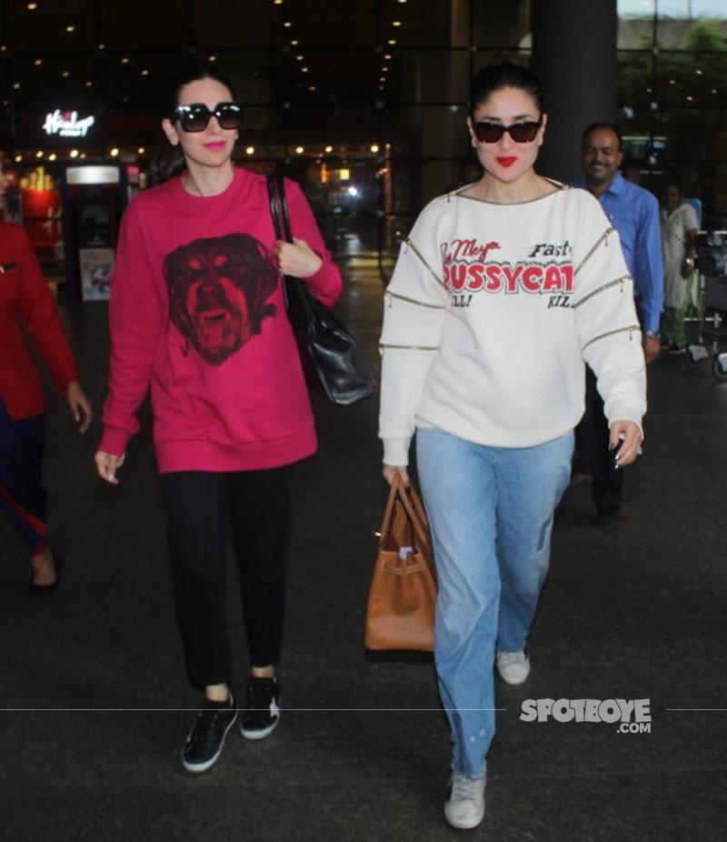 Karisma Kapoor And Kareena Kapoor Snapped At Mumbai Airport