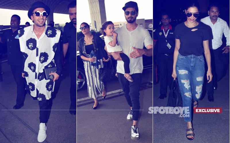Mira Rajput, Misha, Shahid Kapoor, Deepika Padukone & Ranveer Singh Take Off From City