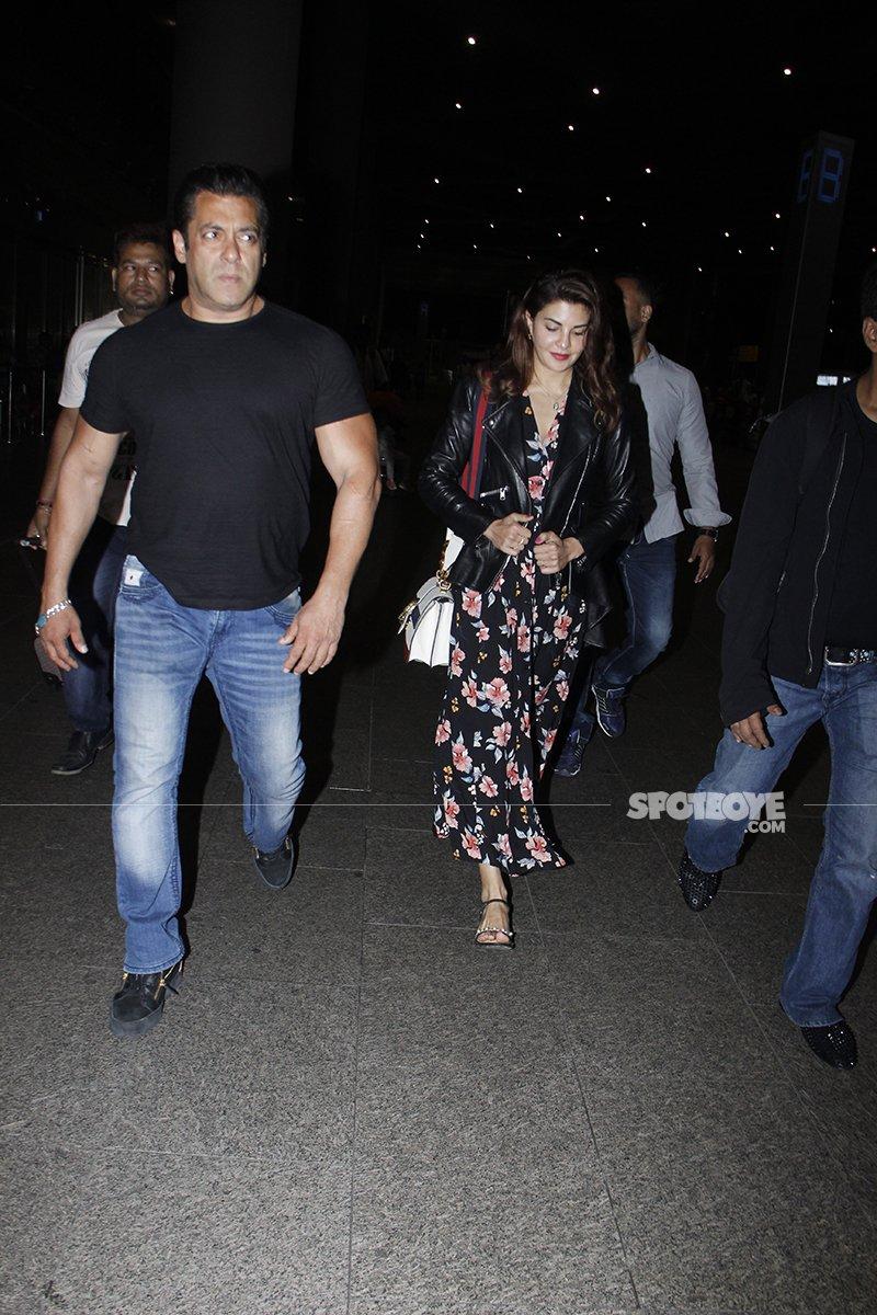 Salman Khan And Jacqueline Fernandez Arrive From Abu Dhabi