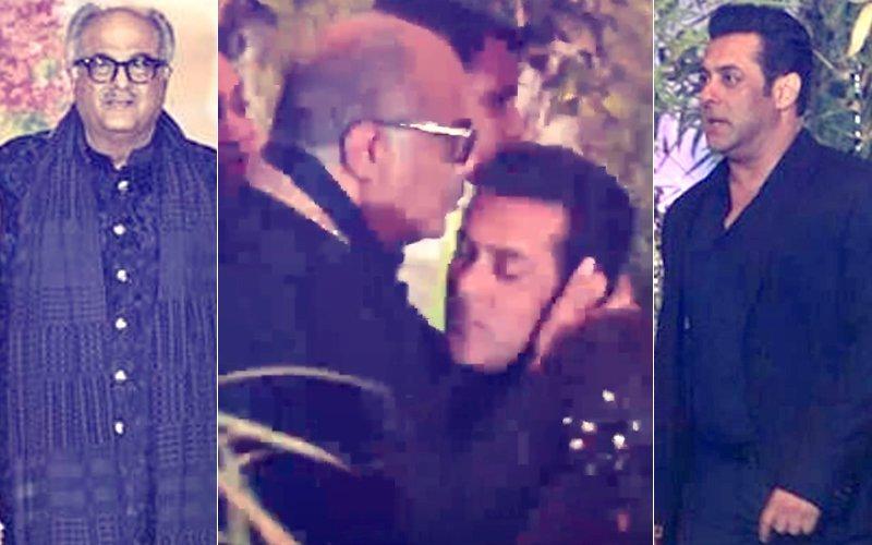 वीडियो: सलमान के लिए दिखा बोनी कपूर का प्यार माथे पर चूमकर किया स्टार का स्वागत