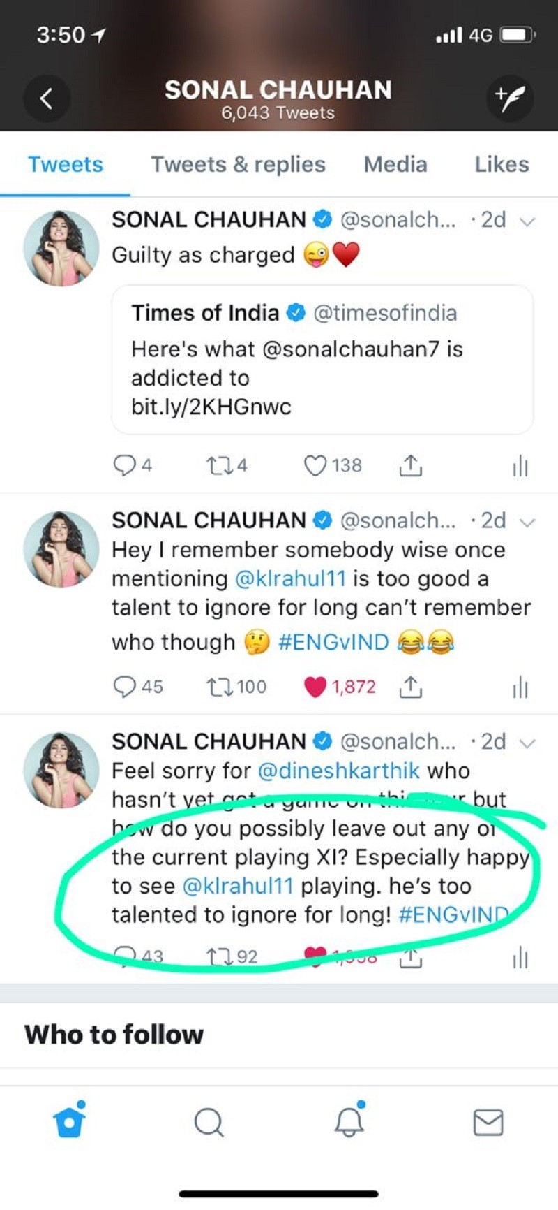 Sonal Chauhan KL Rahul Tweet 2