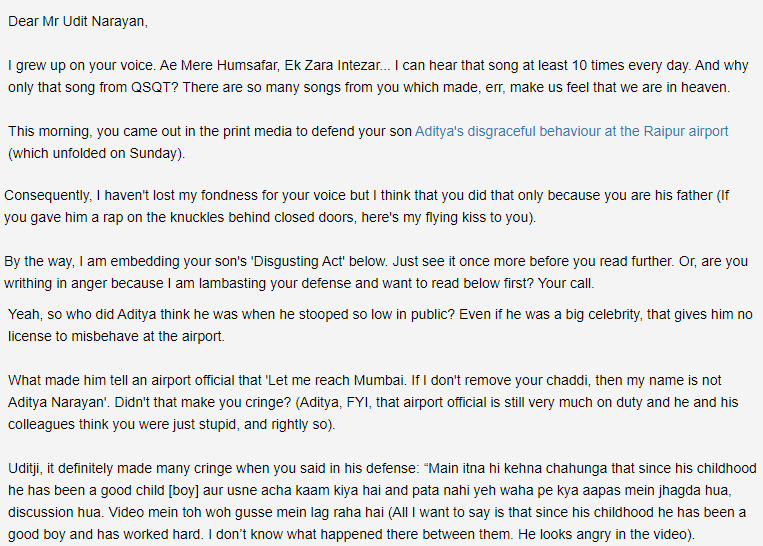 a grab of the open letter