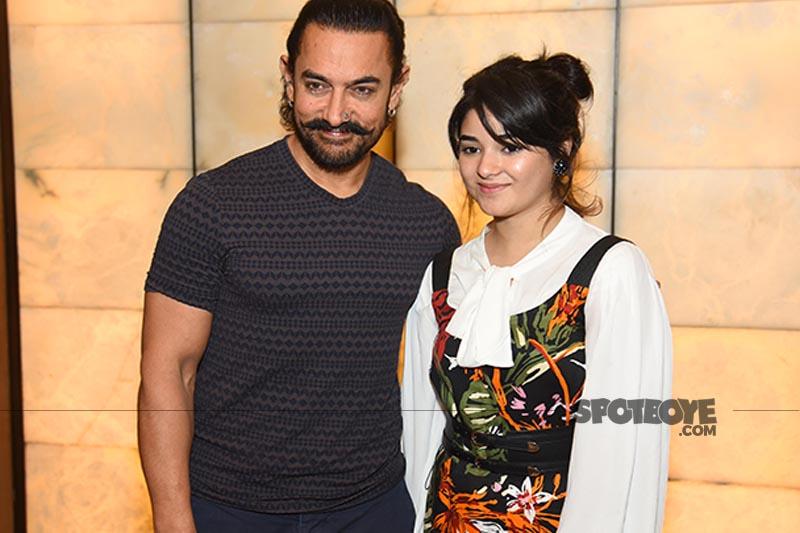 aamir khan and zaira wasim pose for cameras