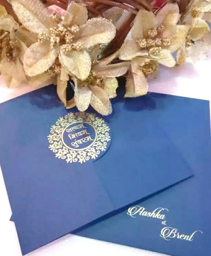 aashka goradia and brent goble wedding card invite