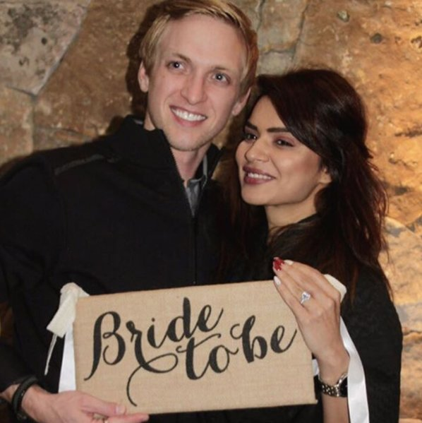 aashka goradia holds a bride to be poster