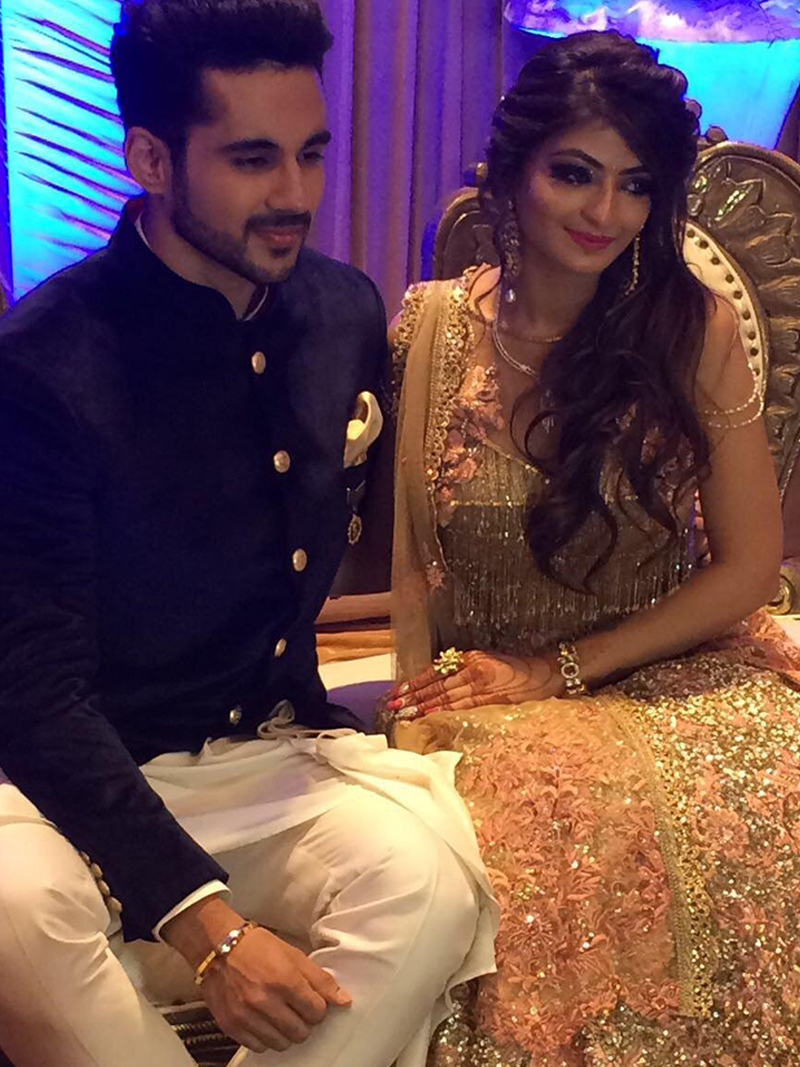 abhishek bajaj and akanksha jindal at their engagement