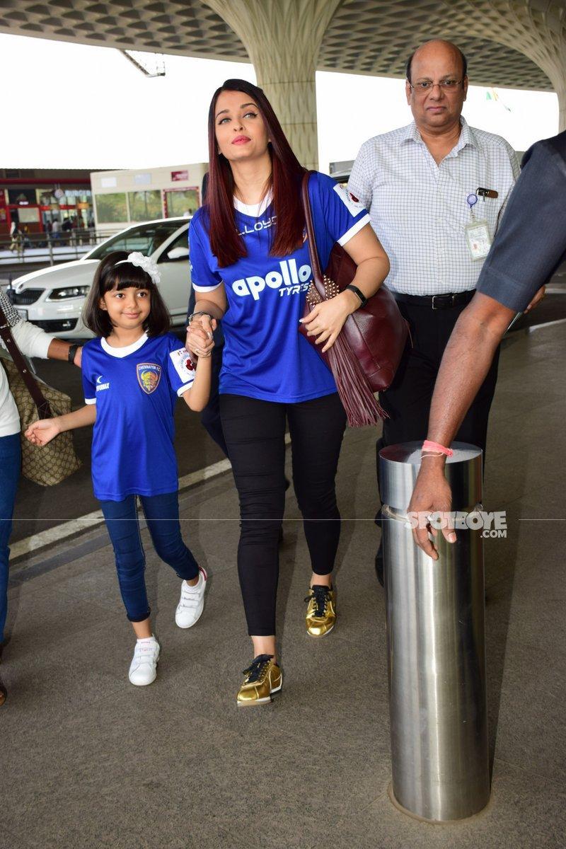 aishwarya aradhya make their way to the airport