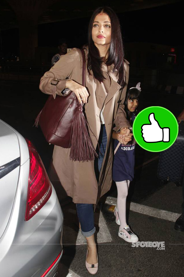 aishwarya rai bachchan with daughter aaradhya snapped at the mumbai airport enroute cannes