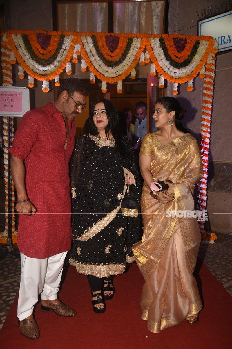 ajay devgn and kajol at vatsal seth and ishita dutta wedding ceremony at iskon temple