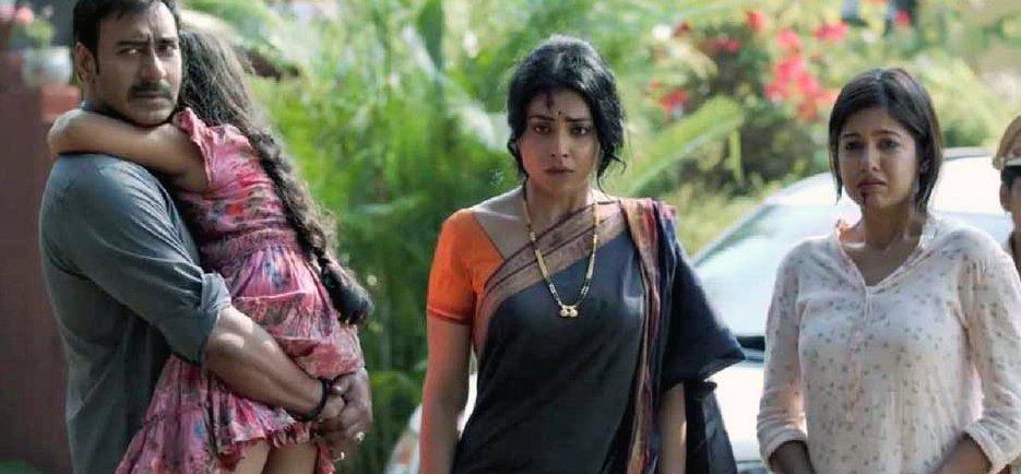 ajay devgn shriya saran with ishita dutta