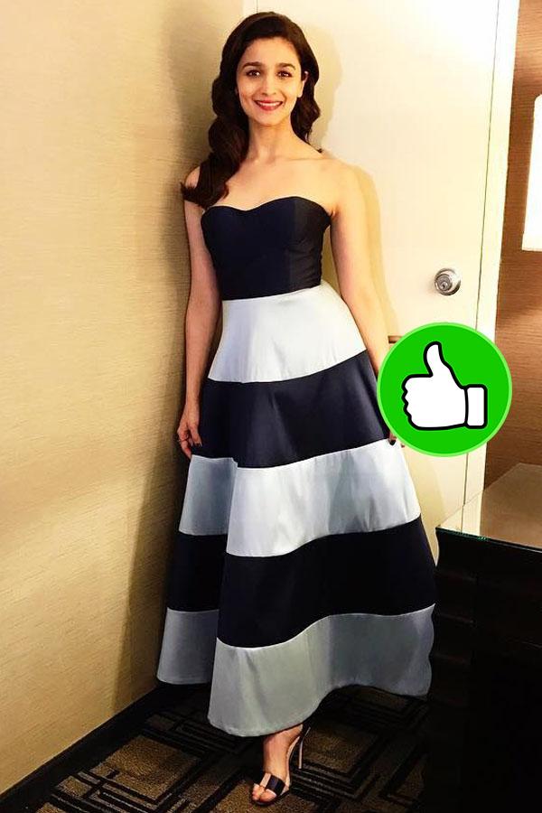 alia bhatt looks beautiful in a white and blue striped dress at iifa 2017 media meet