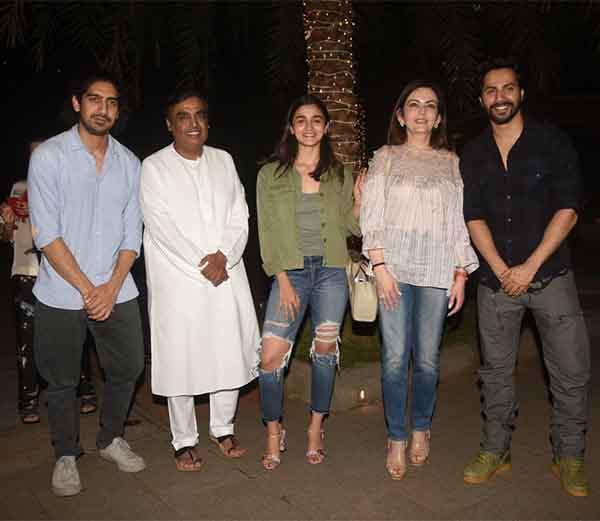 ayan mukerji varun dhawan and alia bhatt pose for shutterbugs with nita and mukesh ambani