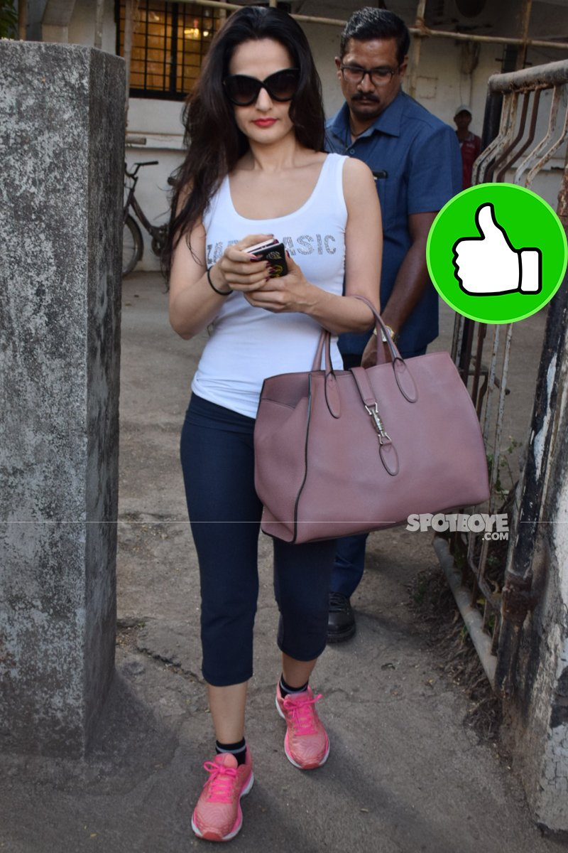 ameesha patel snapped post salon session