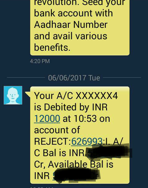 amount debited from account message